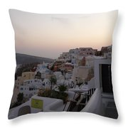 Dawn In Oia Santorini Greece Throw Pillow