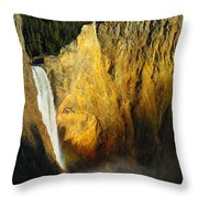Dawn, Lower Falls Of The Yellowstone Throw Pillow