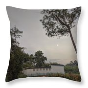 Dawn Moon Over Chinese Garden Singapore Throw Pillow