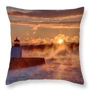 Dawn Peeking Over At Derby Lighthouse Throw Pillow
