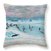 Dawn Pelicans Throw Pillow