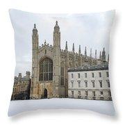 Dawn Sunshine Hit Kings College Chapel On Christmas Eve. Throw Pillow