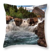 Dawn Upon Swiftcurrent Falls  Throw Pillow