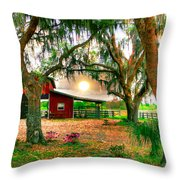 Dawning At The Barn Throw Pillow