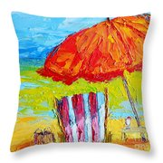 Day At The Beach - Modern Impressionist Knife Palette Oil Painting Throw Pillow