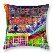 Day At The Market Throw Pillow