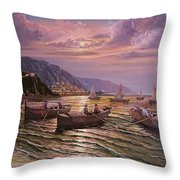 Day Ends On The Amalfi Coast Throw Pillow by Rosario Piazza