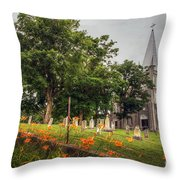 Day Lilies By A Church  Throw Pillow