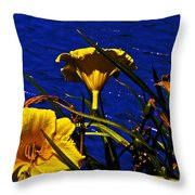 Day Lilies By The Water Throw Pillow