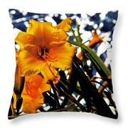 Day Lilies In  Space Throw Pillow