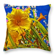 Day Lilies In The Sky With Diamonds  Throw Pillow