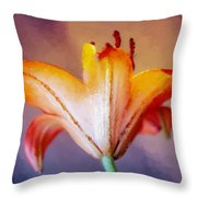 Day Lily Back Throw Pillow