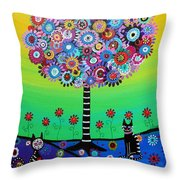 Day Of The Dead Cat'slife Throw Pillow