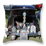 Day Of The Dead Classic Car Trunk Display  Throw Pillow