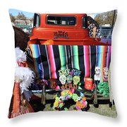 Day Of The Dead Truck Decorations  Throw Pillow