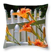 Daylilies On Picket Fence Throw Pillow