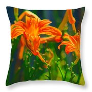 Daylily Trio Throw Pillow