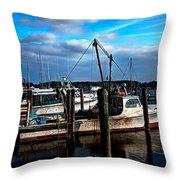 Days End At The Dock Throw Pillow