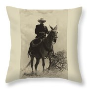 Days Of Old Miss Aleto And The Cowboy Throw Pillow