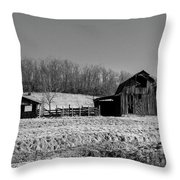 Days Gone By - Arkansas Barn In Black And White Throw Pillow