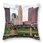 Daytime View Of Columbus Over The Scioto Throw Pillow