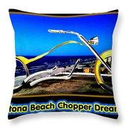 Daytona Beach Chopper Dreaming Yellow Gold Jgibney The Museum Throw Pillow