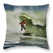 Daytona Beach Surfing Day Throw Pillow