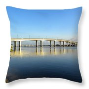 Daytona Beach's Broadway Bridge  Throw Pillow