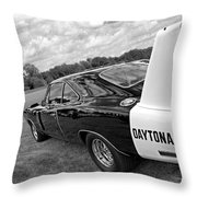 Daytona Charger In Black And White Throw Pillow
