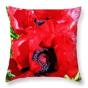 Dazzling Red Poppies Throw Pillow