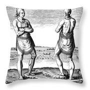 De Bry, Roanoke Native American Throw Pillow