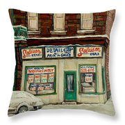 De Bullion Street In  Winter Montreal Throw Pillow