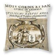 De Motu Cordis, Title Page, William Throw Pillow