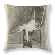 Dead Flamingo With The Legs Tied To The Handrail Of A Chair, Adriaan Pit, 1870 - 1896 Throw Pillow