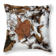 Dead Leaves In The Snow Throw Pillow