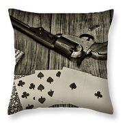 Dead Mans Hand Black And White Throw Pillow