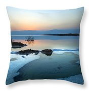 Dead Sea Shallow Waters At Dawn Throw Pillow