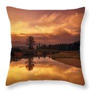 Deadwood River Sunrise Throw Pillow
