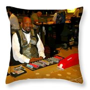 Dealer In Las Vegas Casino Throw Pillow