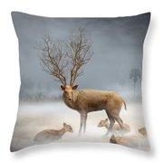 Deer Cool Tone Throw Pillow