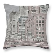Dearborn Street Bridge Throw Pillow