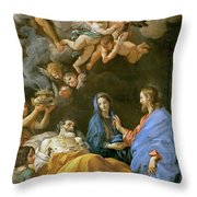 Death Of Saint Joseph Throw Pillow