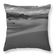 Death Valley Dunes Black And White Throw Pillow
