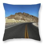Death Valley Road Through The Badlands Throw Pillow