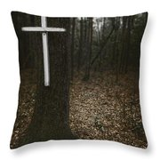 Death Was Here Throw Pillow