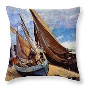 Deauville Beach 1866 Throw Pillow