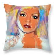 Debbie Harry - Orange Funky Grunge Throw Pillow
