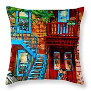 Debullion Street Neighbors Throw Pillow