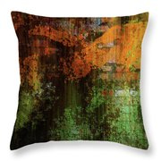 Decadent Urban Brick Green Orange Grunge Abstract Throw Pillow