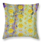 Decadent Urban Bright Yellow Patterned Purple Abstract Design Throw Pillow